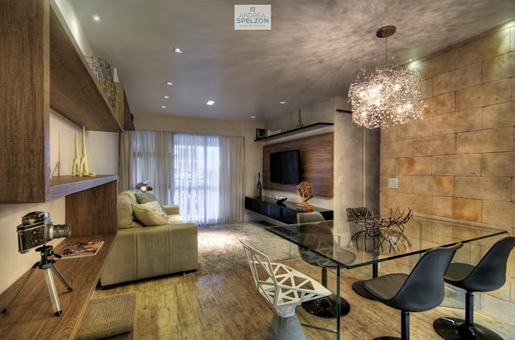 Living contemporâneo com personalidade: Salas de estar modernas por Andréa Spelzon Interiores