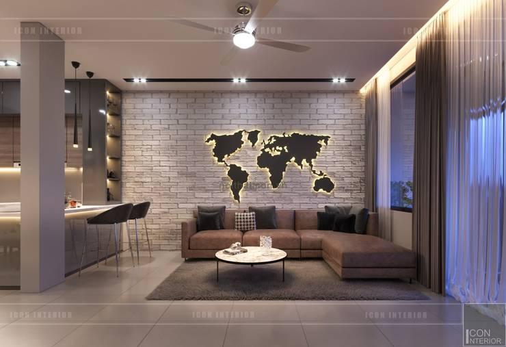 Thiết kế nội thất nhà phố, biệt thự phong cách hiện đại:  Phòng khách by ICON INTERIOR