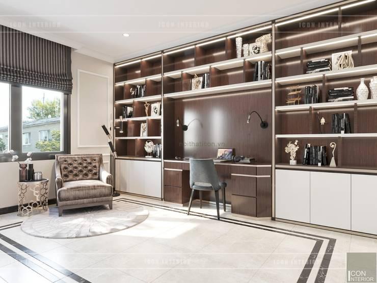 Thiết kế nội thất biệt thự phong cách Tân Cổ Điển sang trọng đẳng cấp:  Phòng học/Văn phòng by ICON INTERIOR