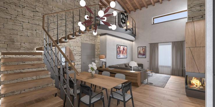 Progetto villa smart: Sala da pranzo in stile  di studiosagitair