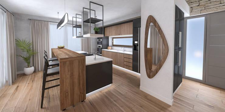 Progetto villa smart: Cucina in stile  di studiosagitair