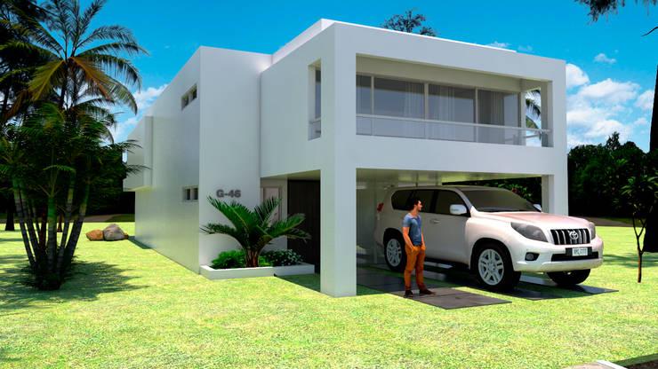 ACCESO PRINCIPAL CASA MODERNA JAMUNDI: Casas de estilo  por JUAN CASTRO ARQUITECTO