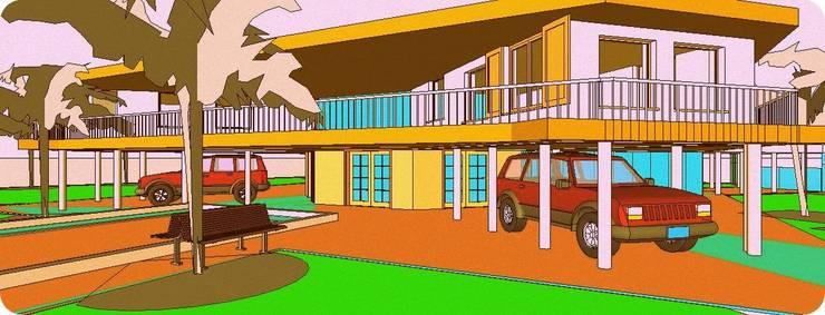 VISTA EXTERIOR DESDE LATERAL DERECHO: Casas unifamiliares de estilo  por Arq.SusanaCruz,