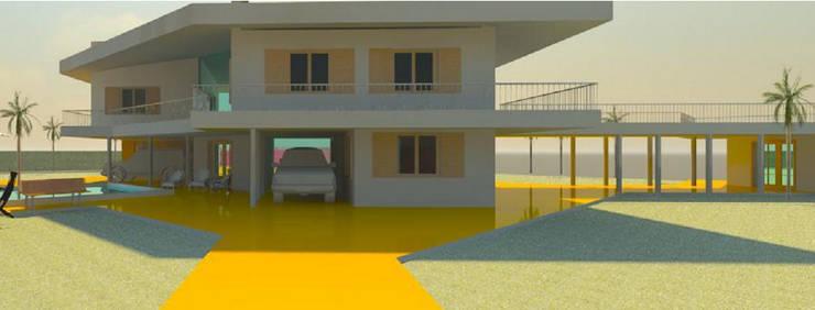 VISTA EXTERIOR . GALERIAS: Casas unifamiliares de estilo  por Arq.SusanaCruz,