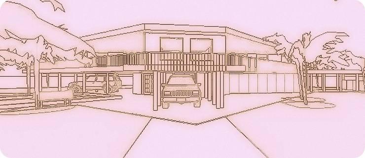 VISTA COCHERAS: Casas unifamiliares de estilo  por Arq.SusanaCruz,