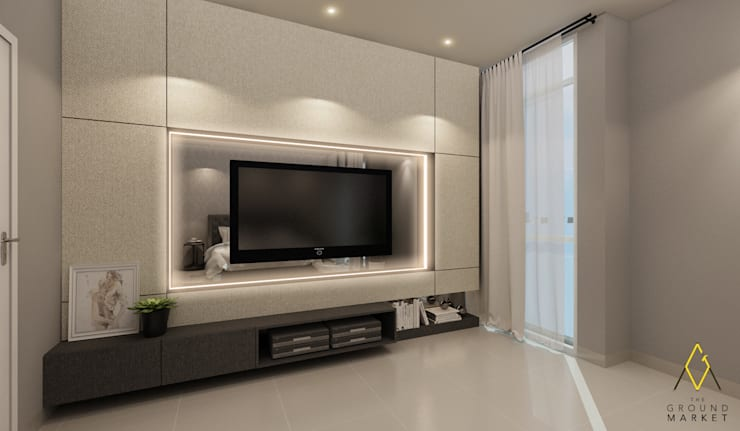 Master Bedroom TV Wall:   by The Ground Market