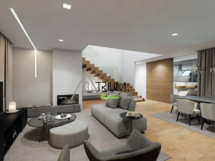 Single house—Cascais:  Living room by Atrium Projetos e Construção