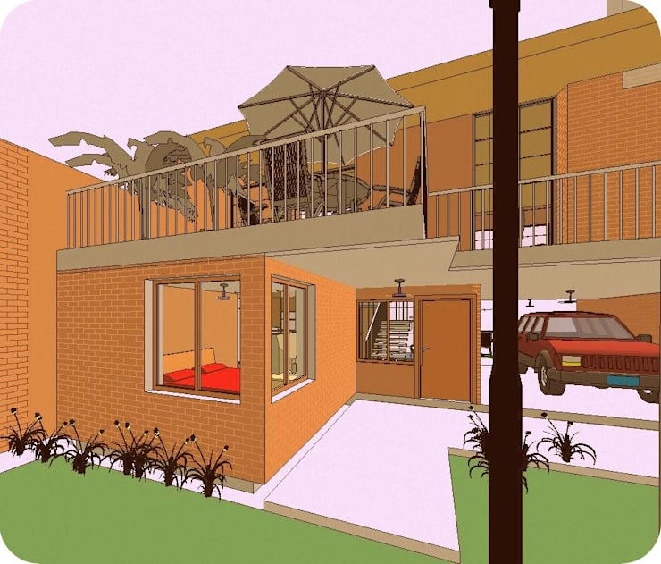 Vista Ingreso Principal: Casas de estilo  por Arq.SusanaCruz,