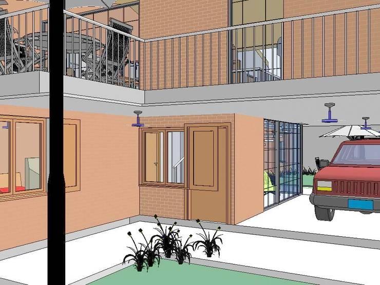 Vista Ingreso Principal y cochera: Casas de estilo  por Arq.SusanaCruz