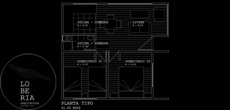 Diseño de Cabaña 41 por Lobería Arquitectura:  de estilo  por Loberia Arquitectura