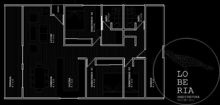 Diseño de Casa Barrera Quezada por Lobería Arquitectura:  de estilo  por Loberia Arquitectura