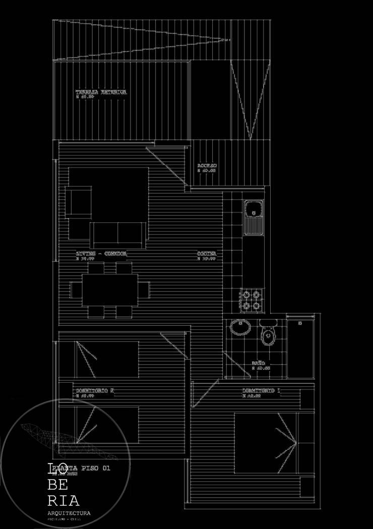 Diseño de Cabaña 52 por Lobería Arquitectura:  de estilo  por Loberia Arquitectura
