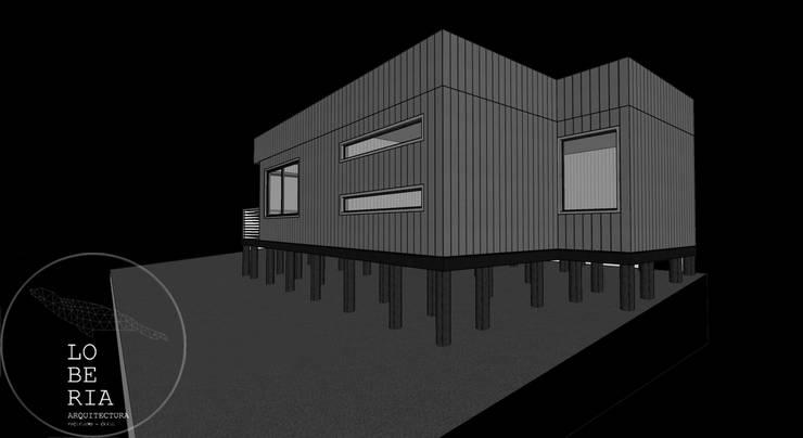 Diseño de Cabaña Sewell por Lobería Arquitectura: Casas unifamiliares de estilo  por Loberia Arquitectura