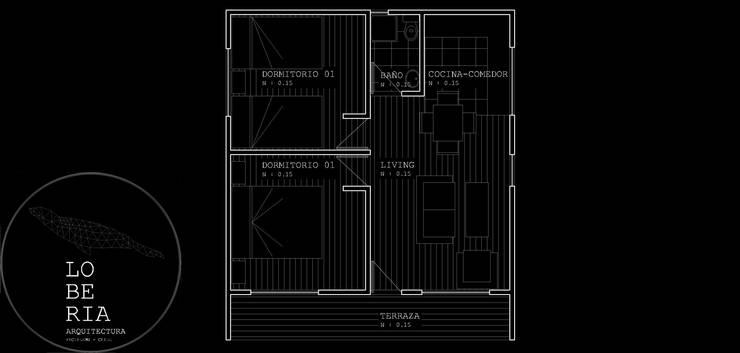 Diseño de Casa 40 por Lobería Arquitectura:  de estilo  por Loberia Arquitectura