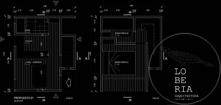 Diseño de Cabaña Monardes por Lobería Arquitectura:  de estilo  por Loberia Arquitectura