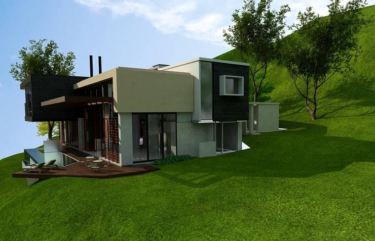 FACHADA SUR:  de estilo  por IngeniARQ Arquitectura + Ingeniería