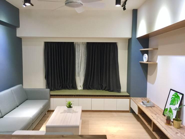 實用感十足的窗台櫃:  客廳 by 圓方空間設計