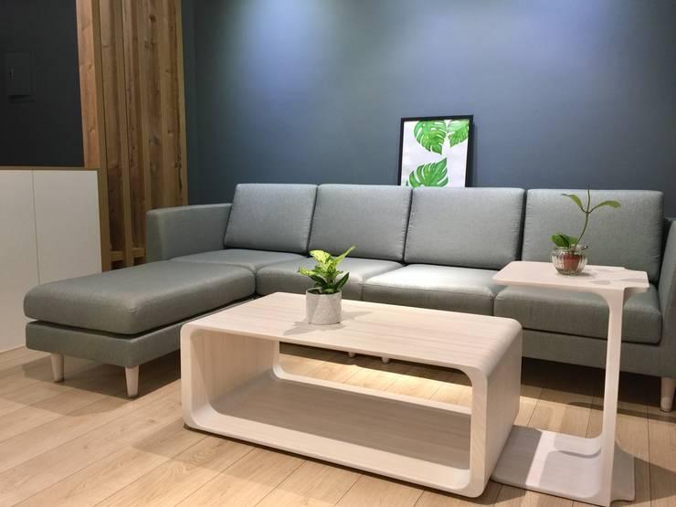 藍灰色的沉穩空間:  客廳 by 圓方空間設計