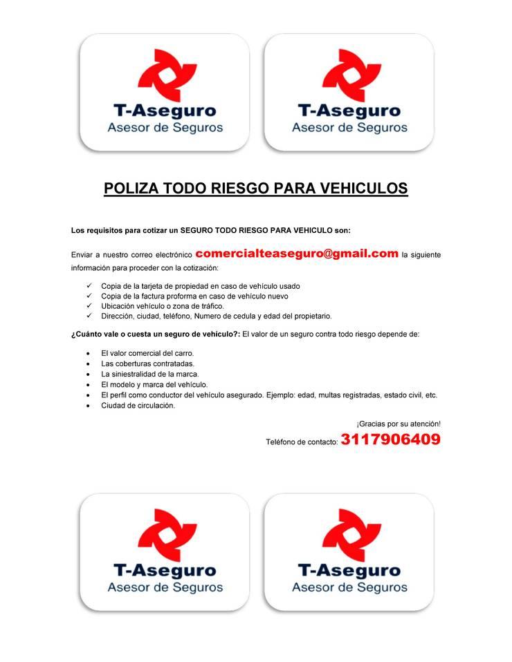 Pólizas TODO RIESGO VEHICULOS:  de estilo  por T-ASEGURO