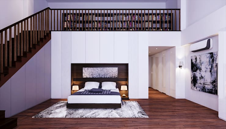 Transitional Style at Thomson Terrace:  Bedroom by Singapore Carpentry Interior Design Pte Ltd