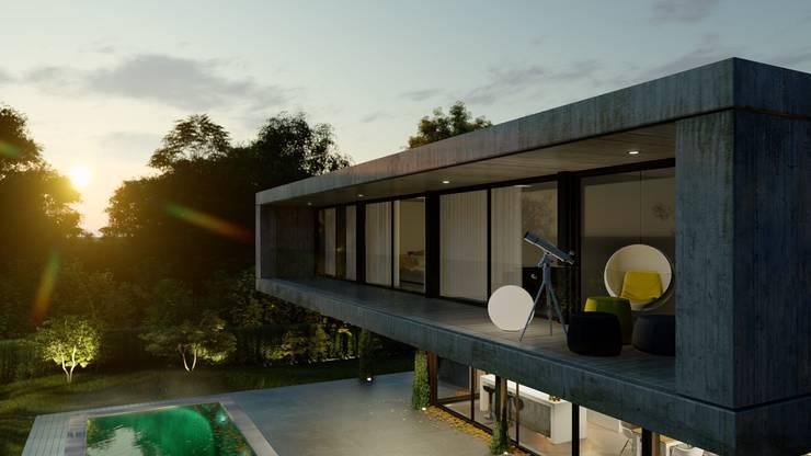 VIVIENDA UNIFAMILIAR Grand Bell #1070: Terrazas de estilo  por Arq Olivares,