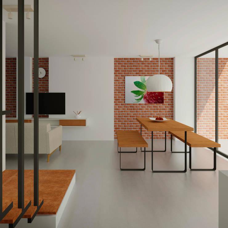 Interior Casa Santa Anita: Salas de estilo  por Punto De Fuga Arquitectura, Moderno Ladrillos