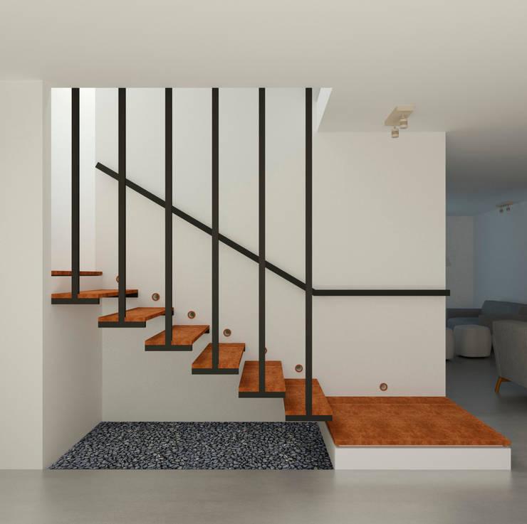 Escaleras Interior Casa Santa Anita: Salas de estilo  por Punto De Fuga Arquitectura