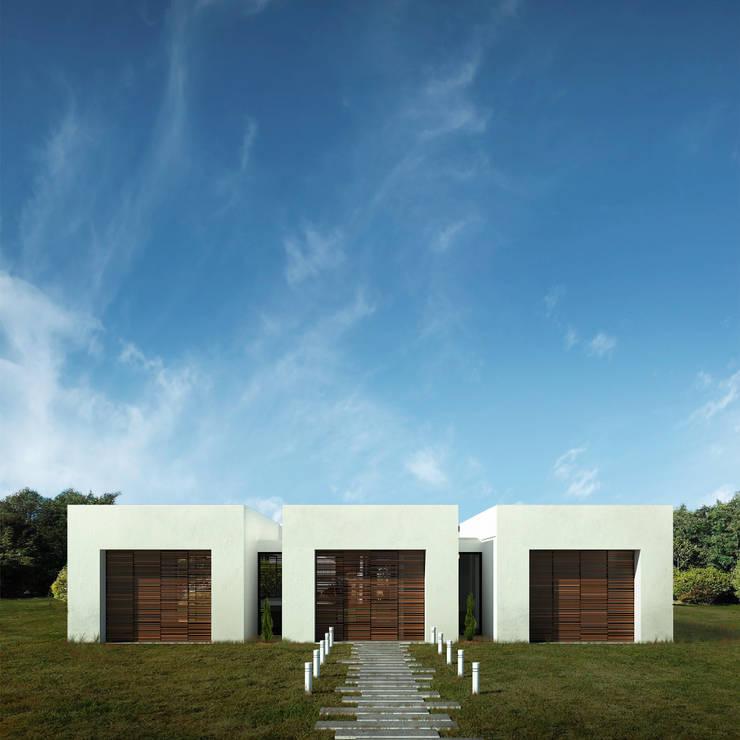 Fachada Casa Santander: Casas campestres de estilo  por Punto De Fuga Arquitectura, Moderno Ladrillos