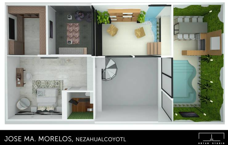Planta de interiores : Recámaras de estilo moderno por UOTAN Studio