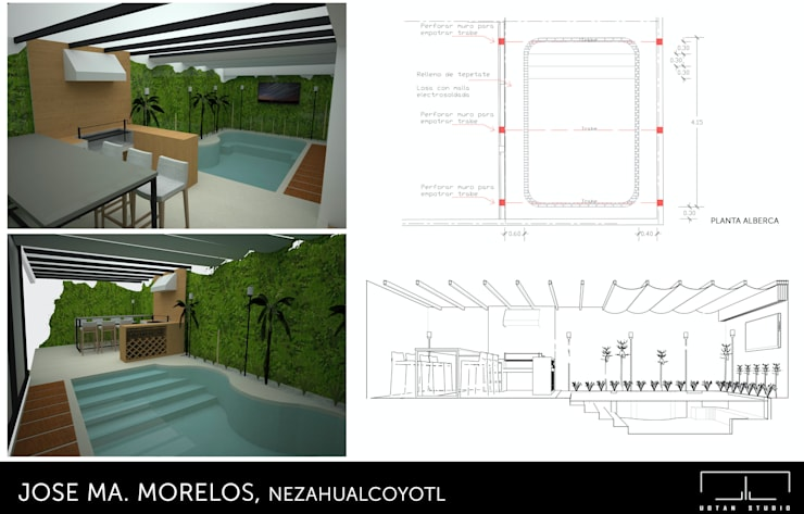 Diseño de alberca: Albercas de estilo moderno por UOTAN Studio