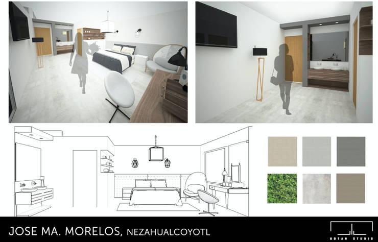 REMODELACION DE RESIDENCIA : Recámaras de estilo moderno por UOTAN Studio