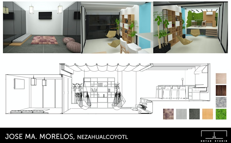 Diseño de interiores: Salas de estilo moderno por UOTAN Studio