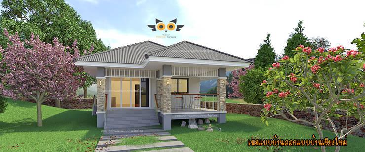 บ้านพักอาศัยขนาดเล็ก:  บ้านเดี่ยว by แบบบ้านออกแบบบ้านเชียงใหม่