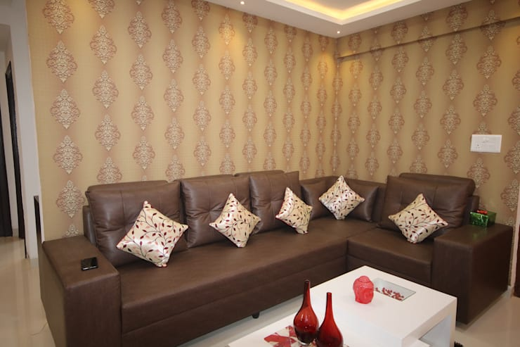 Living Room | Wall Decor | Wallpaper:  Living room by Enrich Interiors & Decors