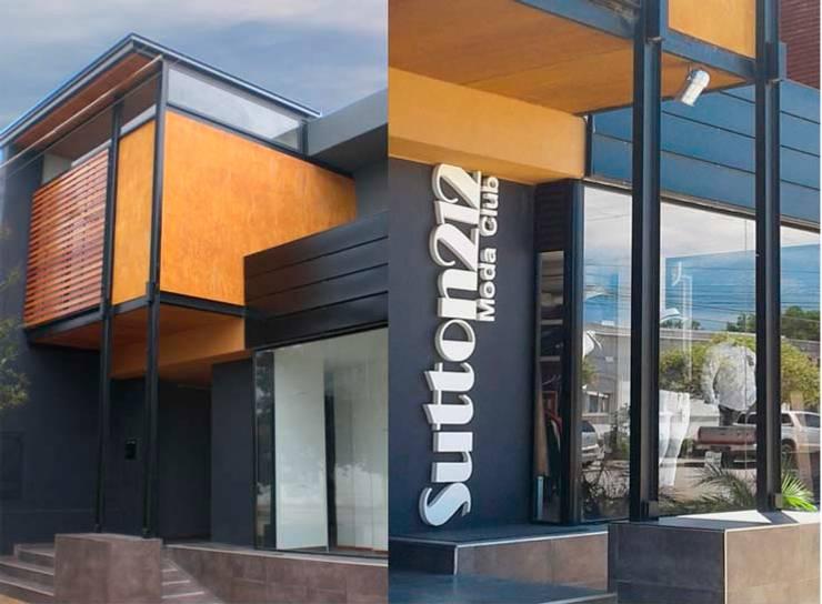 Fotos fachada: Oficinas y Tiendas de estilo  por Metamorfosis arquitectura y diseño,Moderno Contrachapado