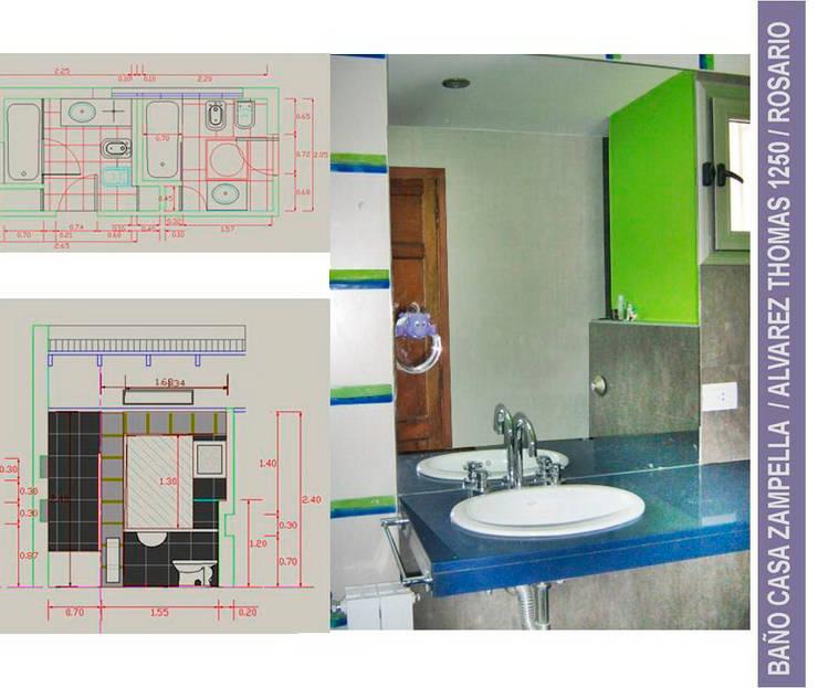 Baño zona niños: Baños de estilo  por Metamorfosis arquitectura y diseño,