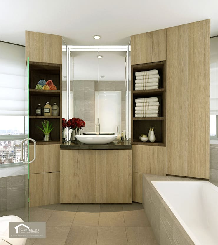 Bathroom:  Bathroom by Singapore Carpentry Interior Design Pte Ltd