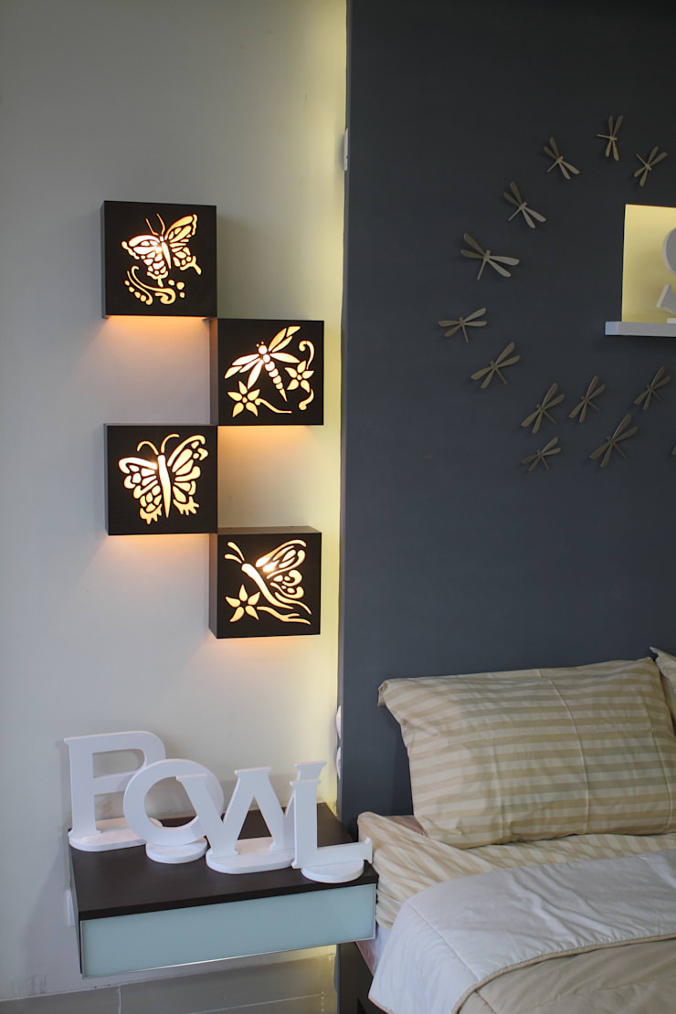 Hiasan Dinding (Lampu Tidur):  Walls & flooring by POWL Studio