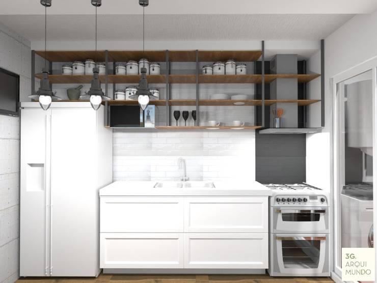 Proyecto Leandro - Cocina: Cocinas de estilo  por Arquimundo 3g - Diseño de Interiores - Ciudad de Buenos Aires,