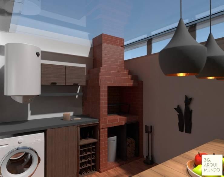 Proyecto Leandro - Quincho: Casas de estilo  por Arquimundo 3g - Diseño de Interiores - Ciudad de Buenos Aires,