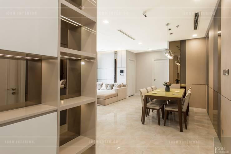 Thi công nội thất phong cách hiện đại trong căn hộ Vinhomes Golden River:  Phòng khách by ICON INTERIOR