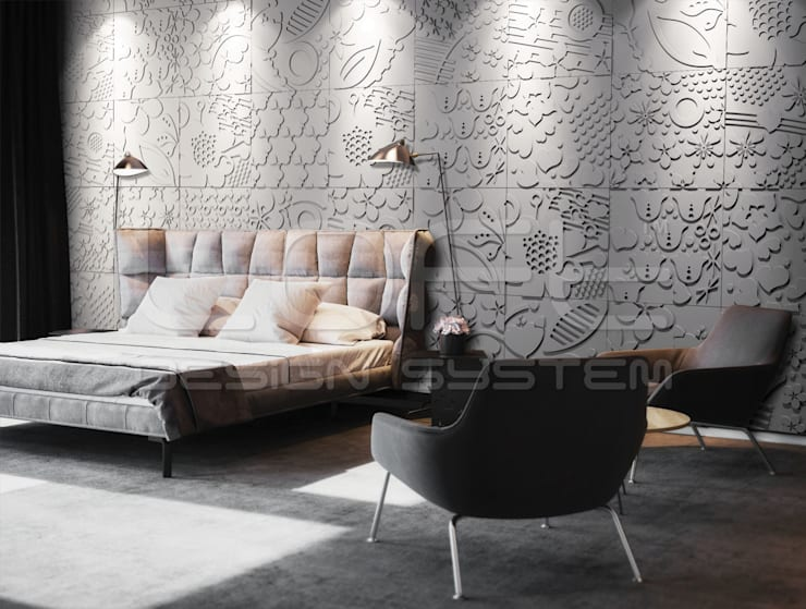 3D Wandplatten aus GRC Beton:  Schlafzimmer von Loft Design System Deutschland