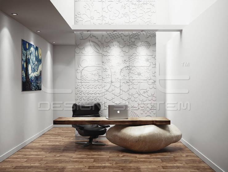 Dekorative 3D Wandpaneele aus GRC Beton:  Arbeitszimmer von Loft Design System Deutschland