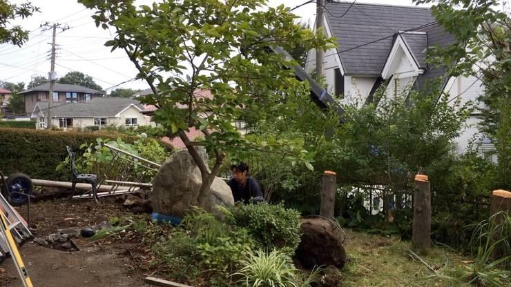 施工中 状況: 庭や煌久が手掛けたです。