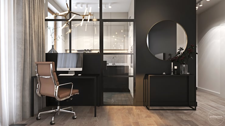 Odważne mieszkanie z czerwienią: styl , w kategorii Domowe biuro i gabinet zaprojektowany przez Ambience. Interior Design