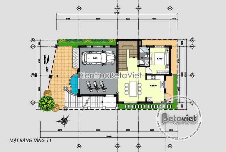 Mặt bằng tầng 1 biệt thự Tân cổ điển mặt tiền 10m sang trọng (CĐT: Ông Phúc - Hưng Yên) KT8084:   by Công Ty CP Kiến Trúc và Xây Dựng Betaviet