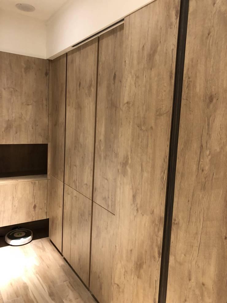 五股成泰路 開放式廚房 造型吧台設計:  走廊 & 玄關 by 捷士空間設計(省錢裝潢)