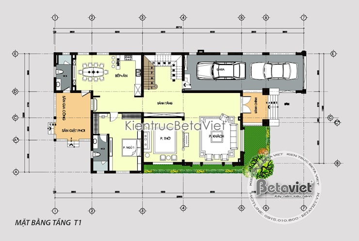 Mặt bằng tầng 1 biệt thự 3 tầng Tân cổ điển nhẹ nhàng thanh thoát (CĐT: Bà Sen - Nam Định) KT17106:   by Công Ty CP Kiến Trúc và Xây Dựng Betaviet