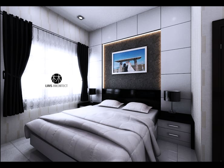 Serdang Residence Interior Furniture:  Kamar Tidur by Lims Architect