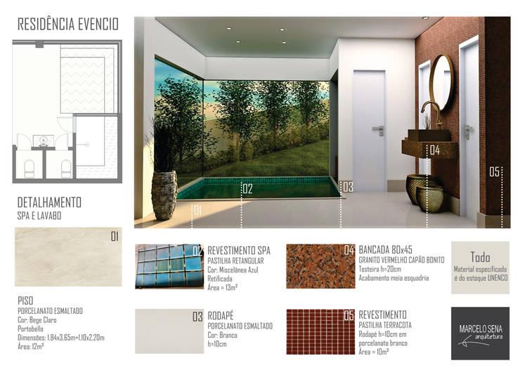 Residencia em Escarpas: Spas  por Marcelo Sena Arquitetura